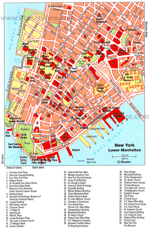 Detailed map of lower Manhattan.