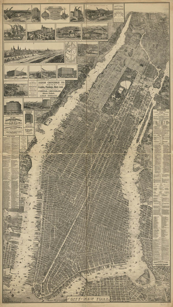 Detailed old panoramic map of Manhattan NYC with buildings.