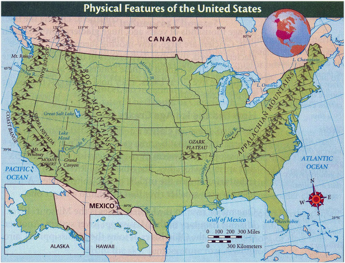 Detailed physical features map of the United States Vidianicom