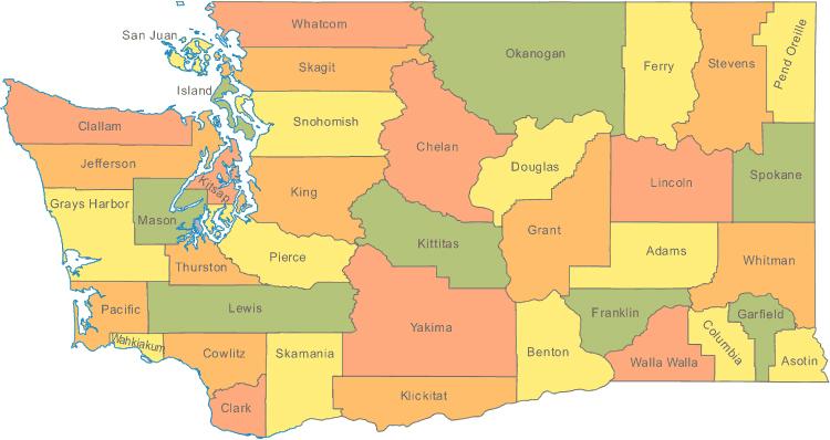 Detailed political map of Washington. Washington detailed