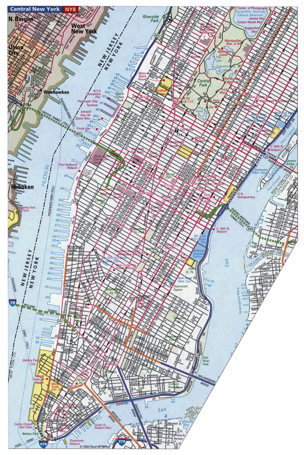 Detailed road map of Manhattan NYC.