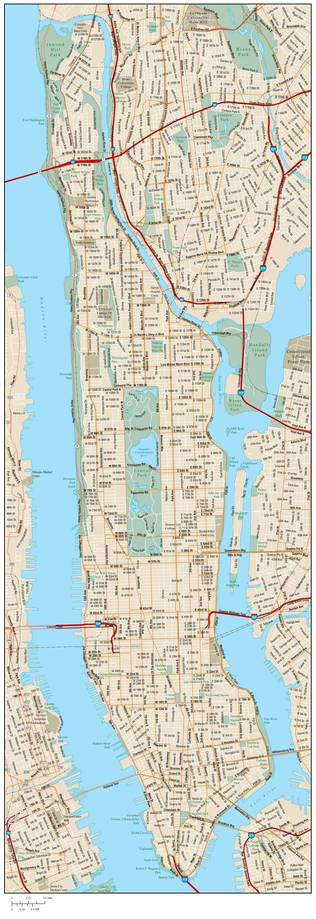 Detailed Road Map Of Manhattan With Street Names