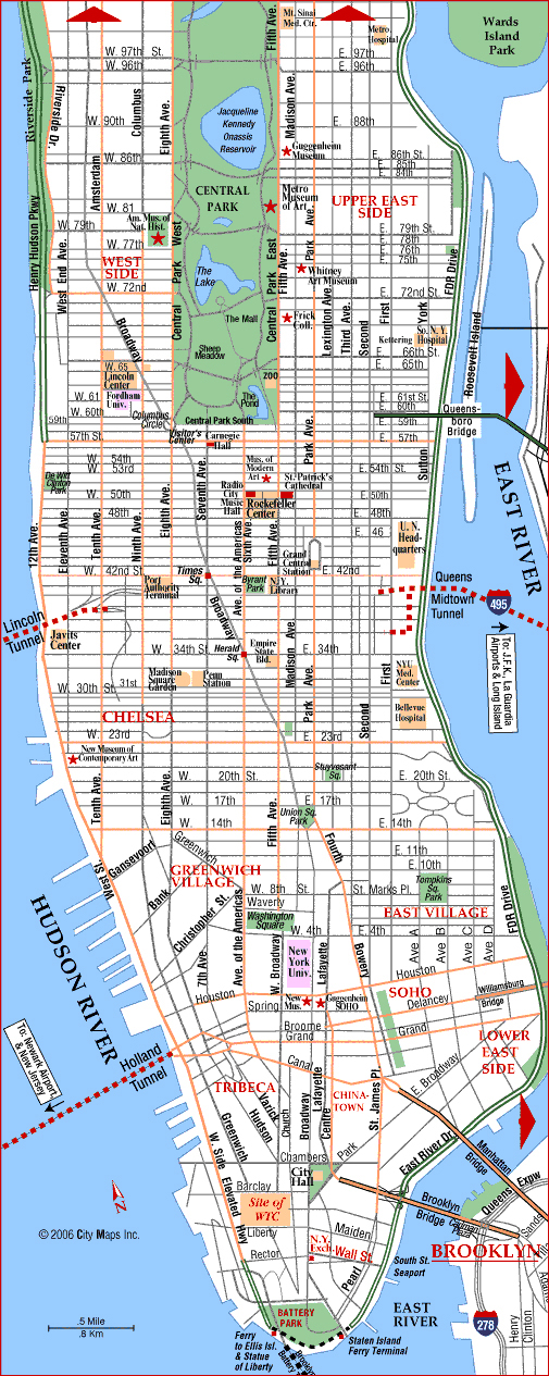 Detailed road map of Manhattan.