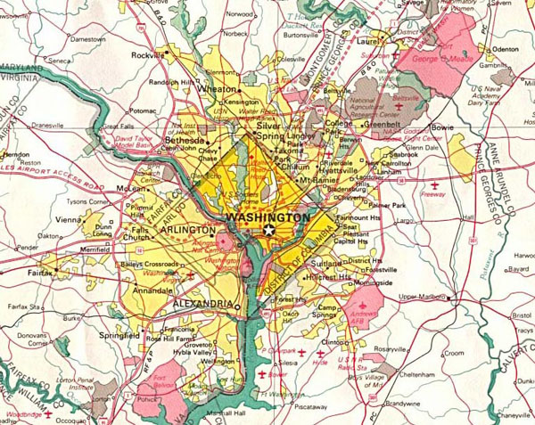 Detailed road map of Washington D.C. and neighborhoods.