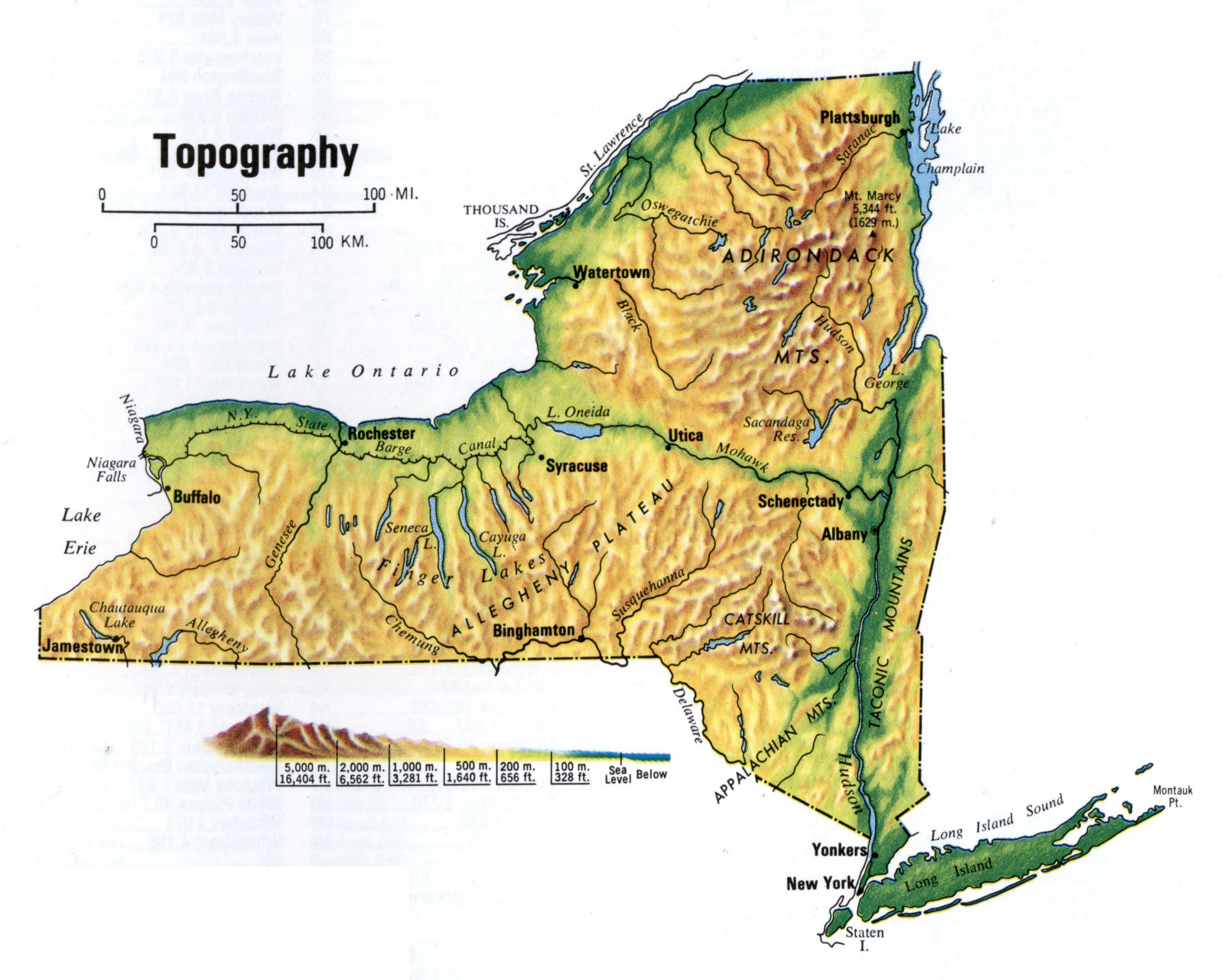 Detailed Topographic Map Of New York State New York State