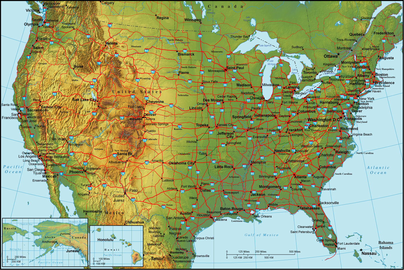 Detailed Topographical Map Of The Usa The Usa Detailed Topographical Map