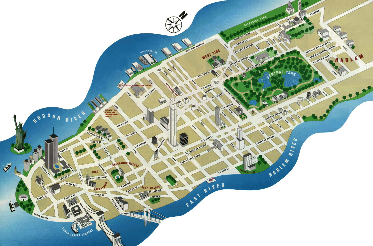 Detailed tourist map of Manhattan. Manhattan detailed tourist map ...