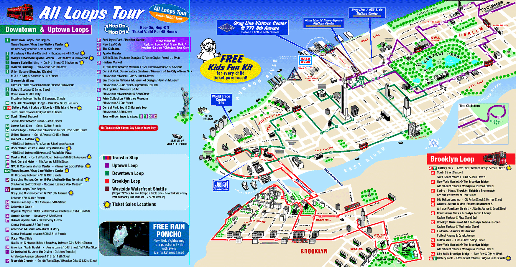 Detailed Tourist Map Of New York City New York City