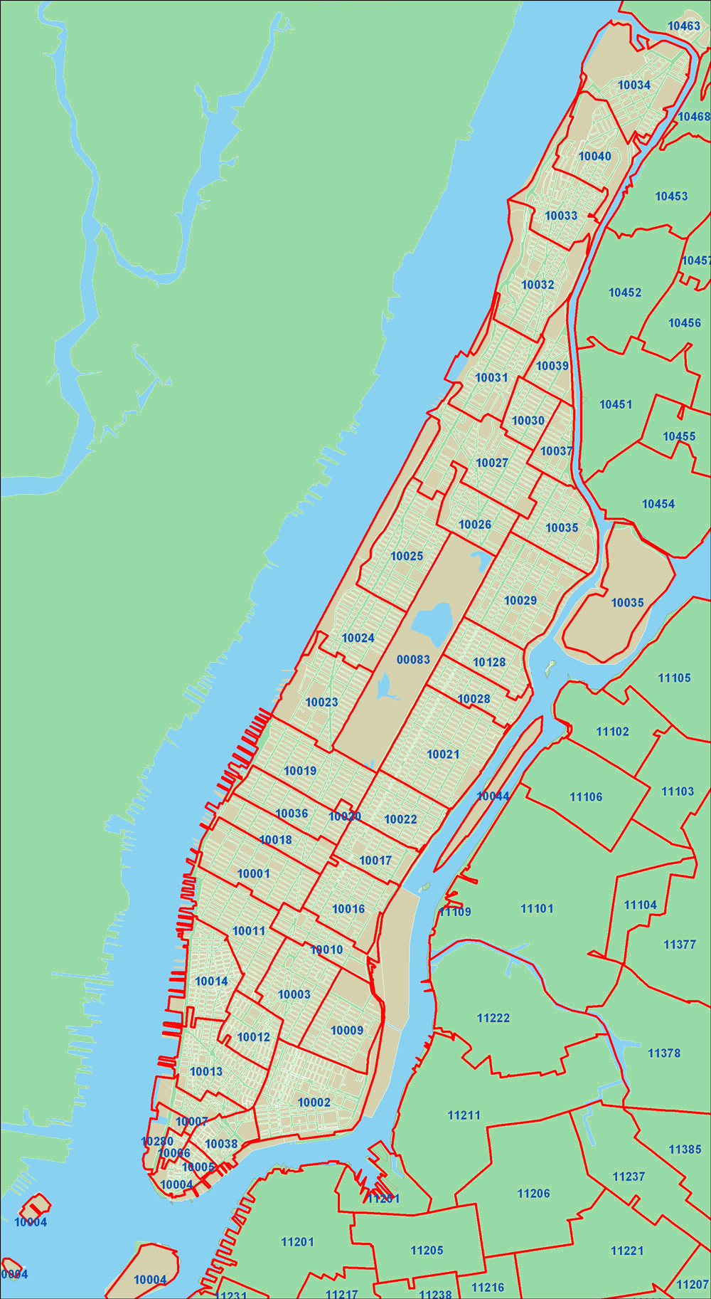 Detailed zip codes map of New York city. New York city detailed