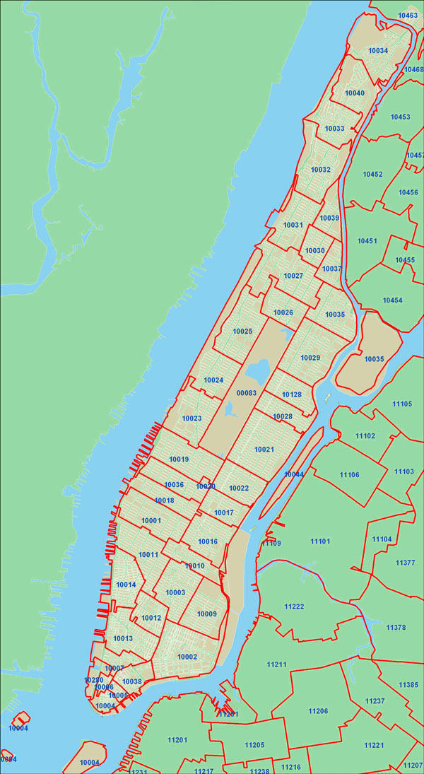 Detailed zip codes map of New York city.