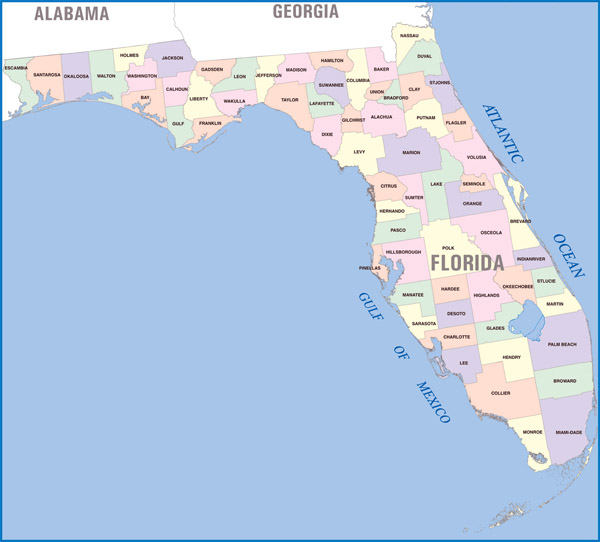 Detailed administrative divisions map of Florida state.