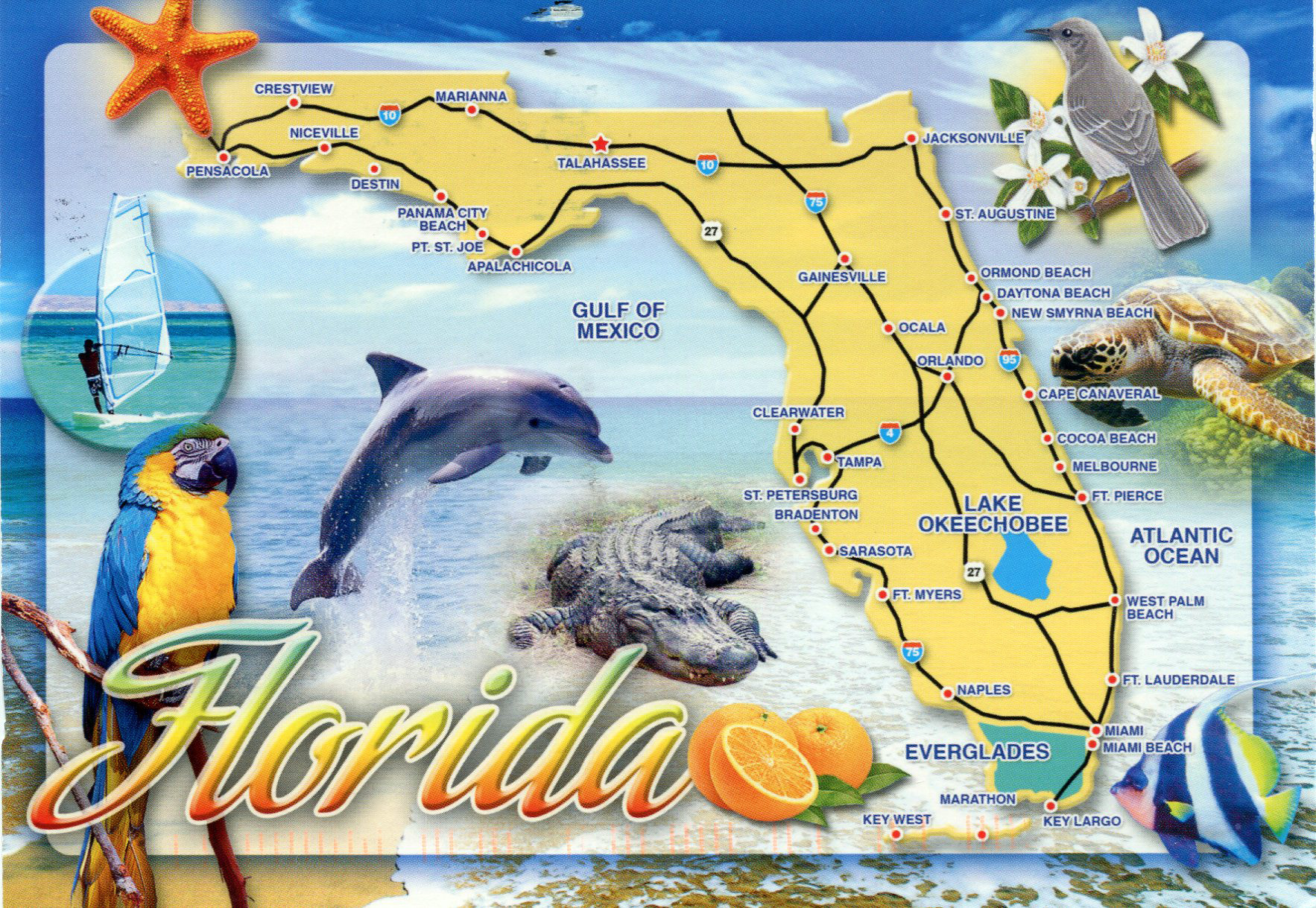 Detailed Tourist Map Of Florida State Florida State Detailed