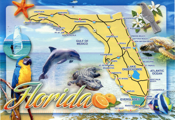 Detailed tourist map of Florida state.