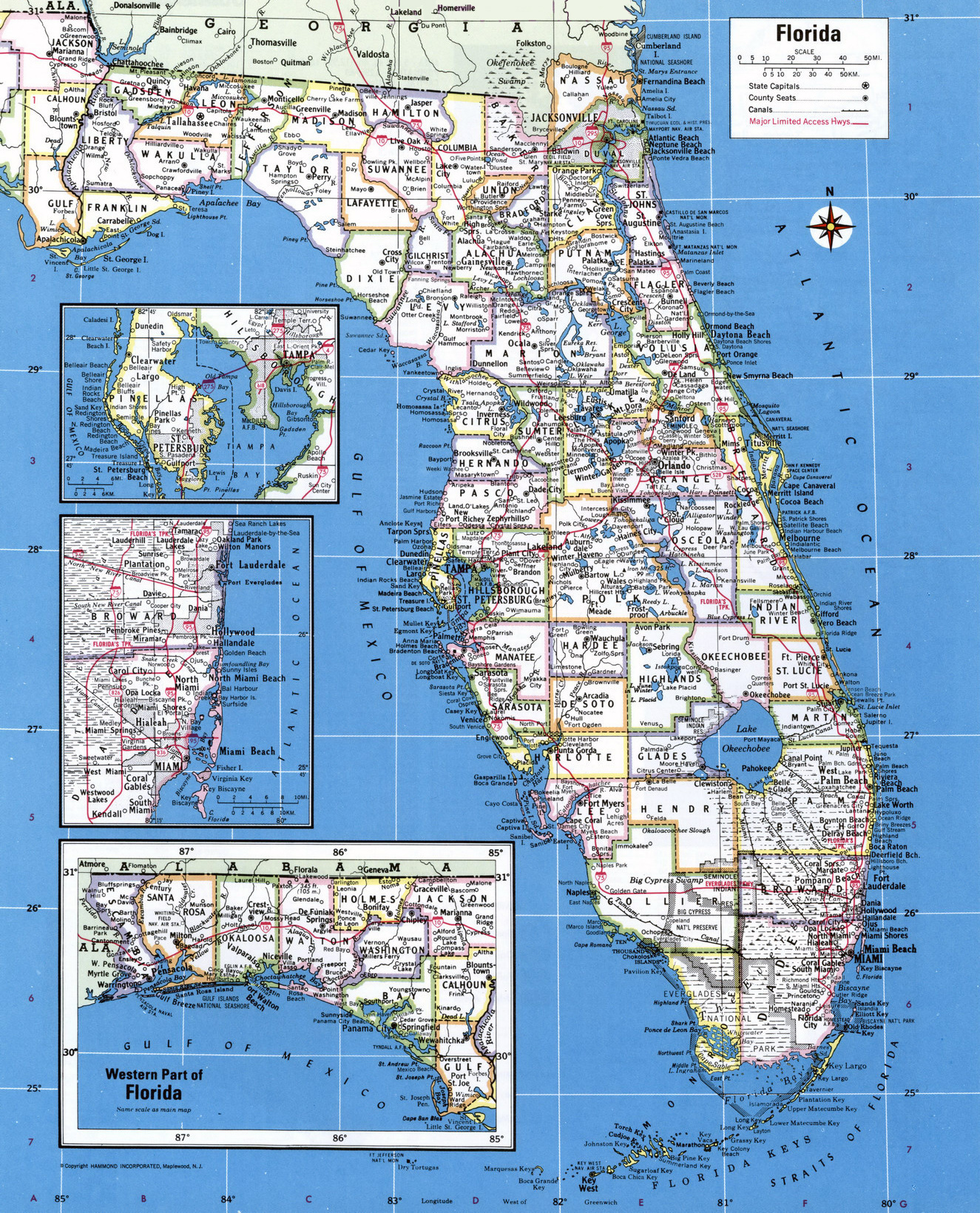 Large Detailed Administrative Map Of Florida State With Major - Florida map of cities