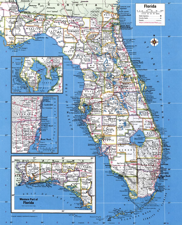 Large detailed administrative map of Florida state with major cities.