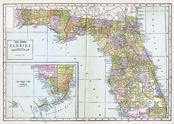 Large detailed old administrative map of Florida with all cities - 1921.