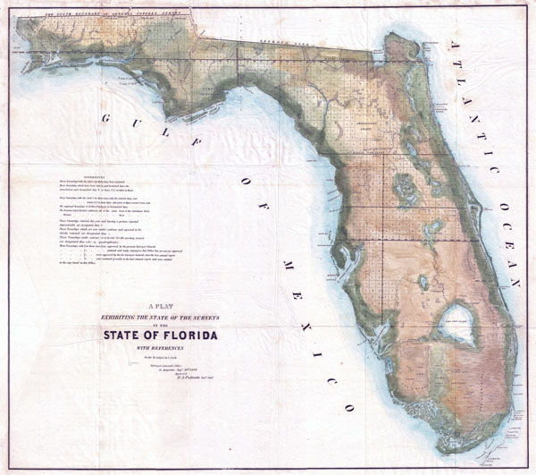 Large detailed old land survey map of Florida state - 1848.