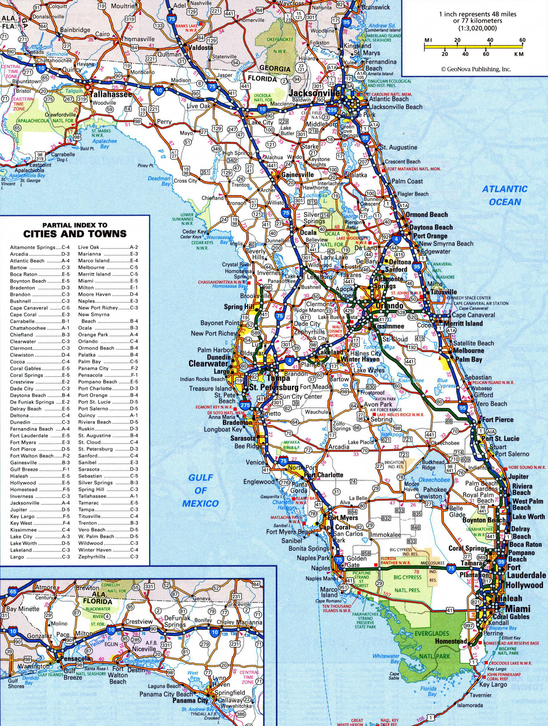Large detailed roads and highways map of Florida state Vidianicom