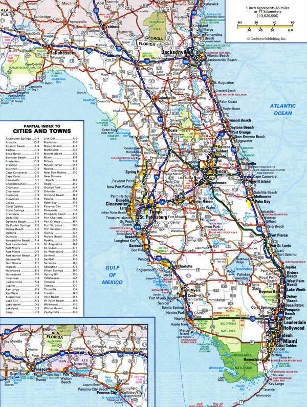 Large detailed roads and highways map of Florida state ...