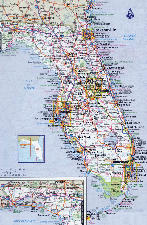Large detailed roads and highways map of Florida state with all cities.
