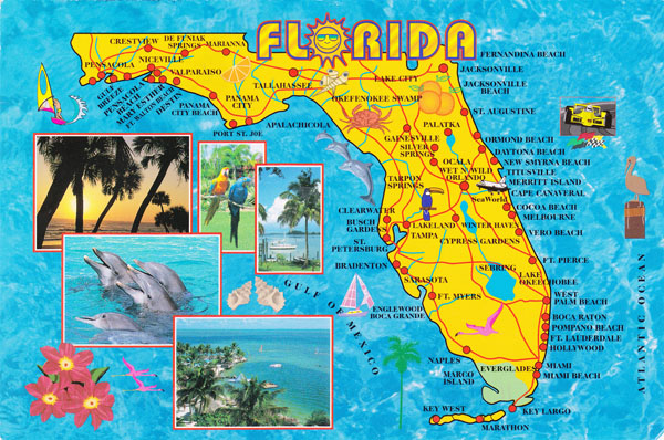 Large detailed tourist map of Florida state.