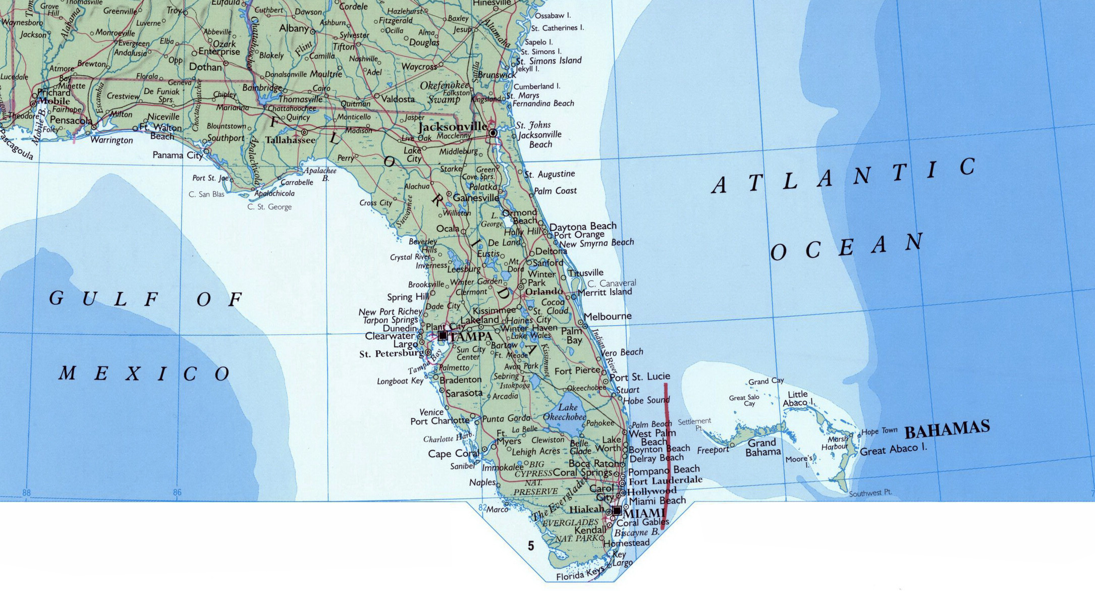 Large map of Florida state Florida state large map Maps of a