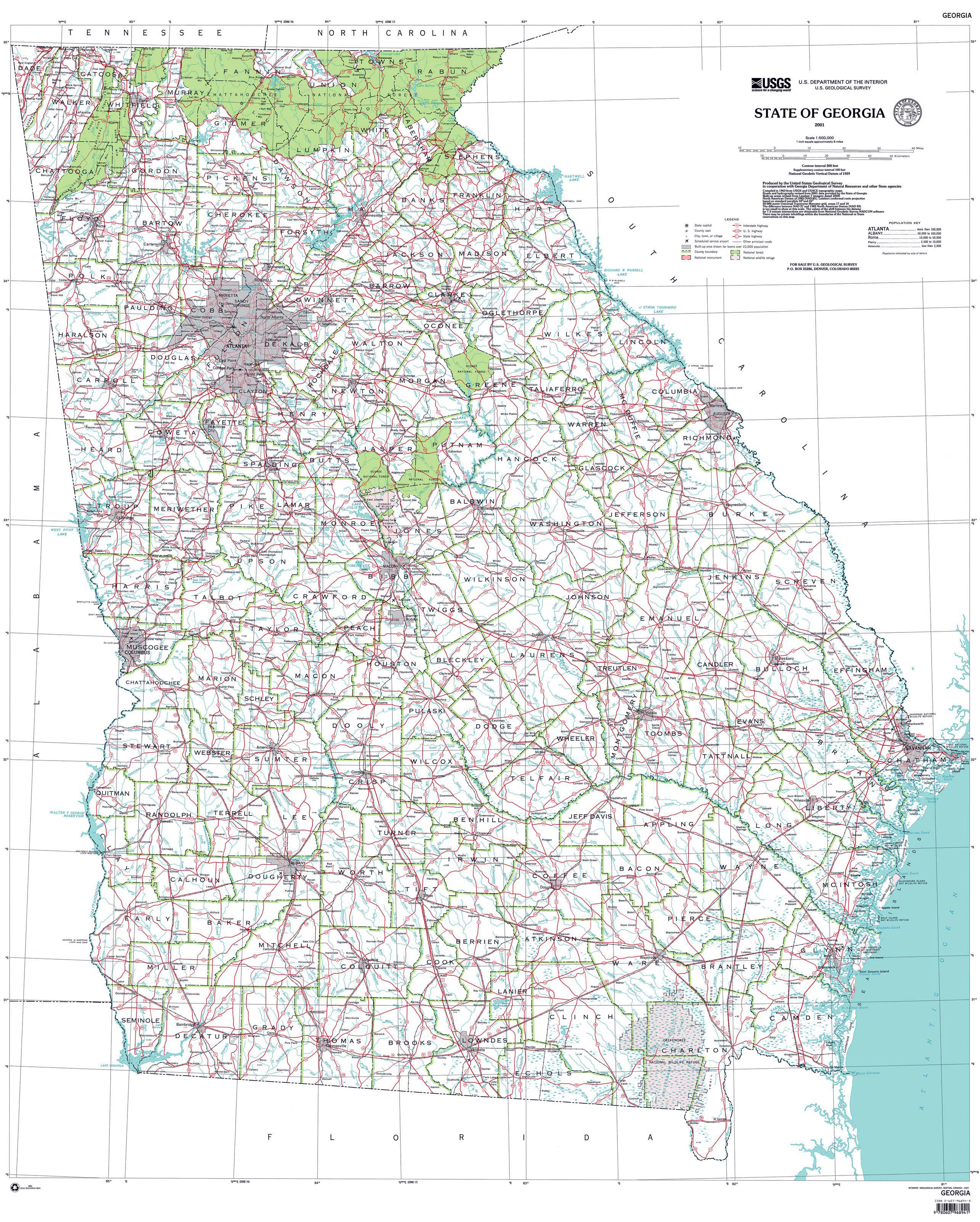 Detailed administrative map of Georgia state | Vidiani.com | Maps of ...