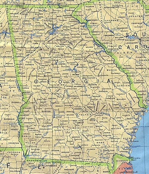 Detailed map of Georgia state. Georgia state detailed map.