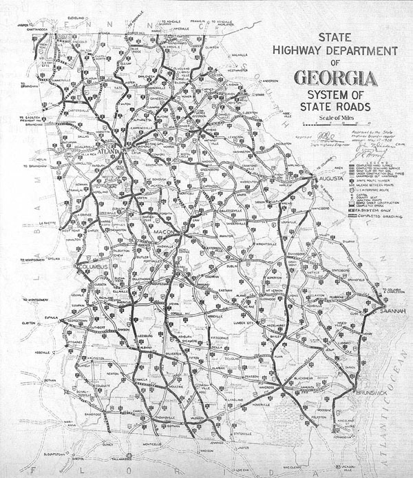 Detailed old road system map of Georgia state - 1929.
