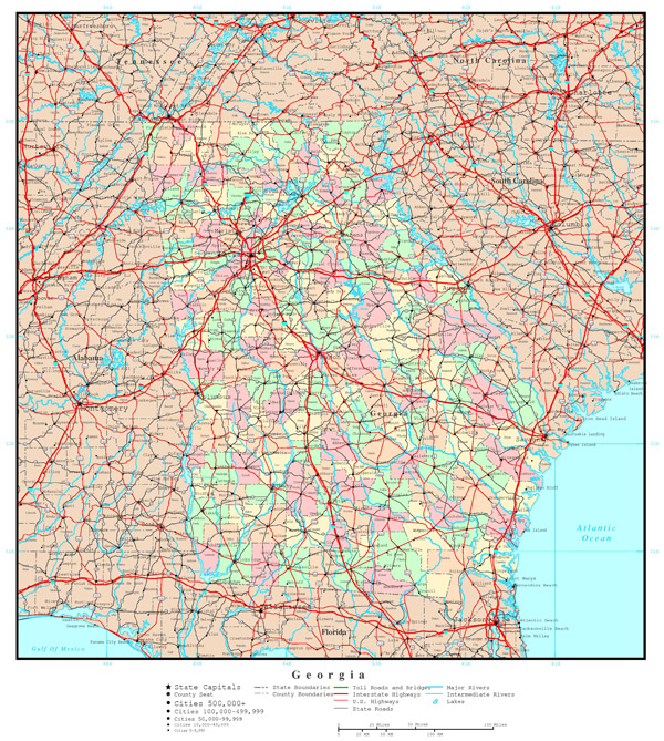 Large detailed administrative map of Georgia state with roads, highways and cities.