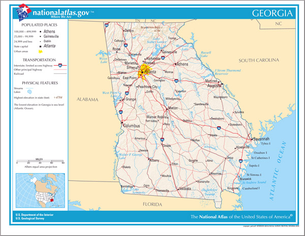 Large detailed map of Georgia state. Georgia state large detailed map.