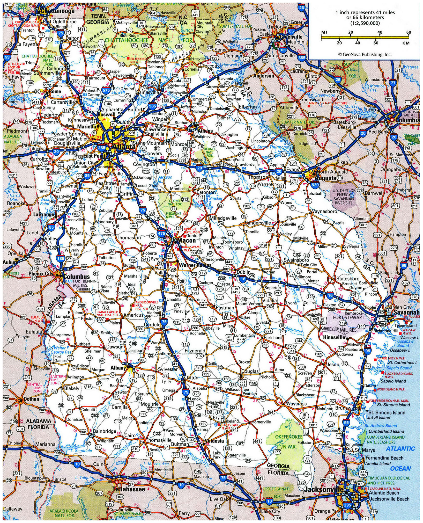 Highway Map Of Georgia.Large Roads And Highways Map Of Georgia State Georgia State