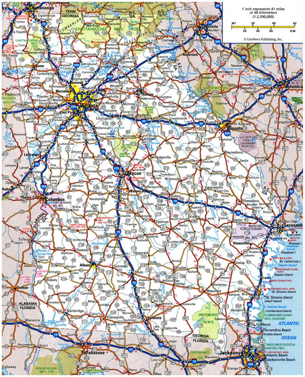 Large roads and highways map of Georgia state.