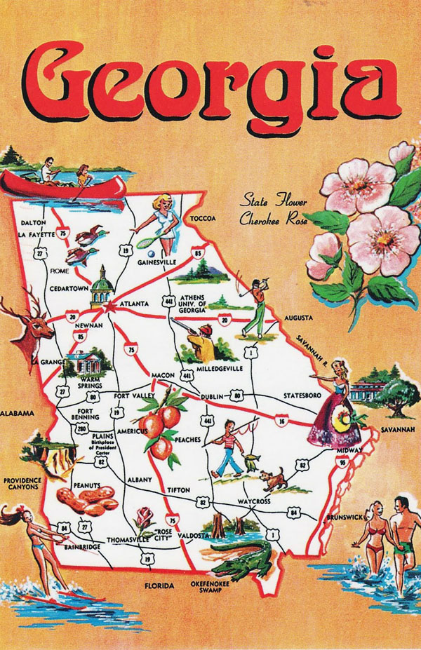 Large tourist illustrated map of Georgia state.