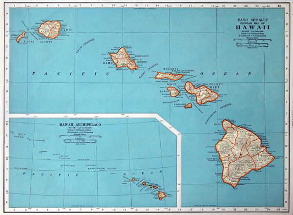 Administrative map of Hawaii state. Hawaii state administrative map.