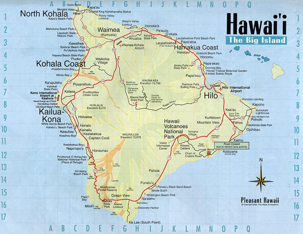 Detailed map of Big Island of Hawaii with roads.