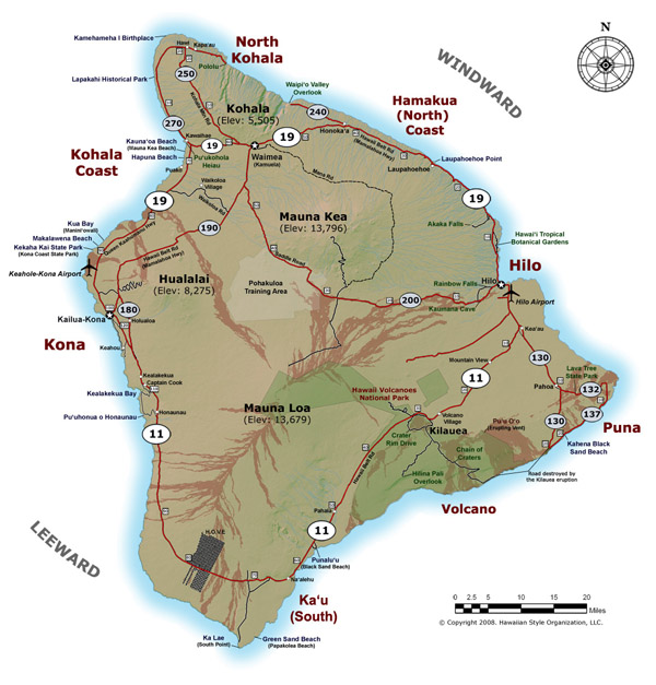 Detailed map of Big Island of Hawaii with roads and cities.