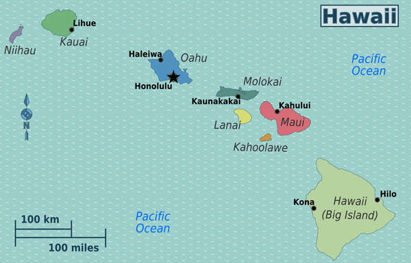 Detailed regions map of Hawaii.