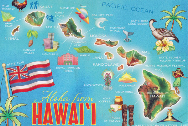 Detailed tourist map of Hawaii Islands.