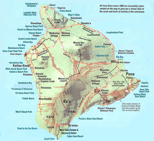 Large detailed map of Big Island of Hawaii with roads and cities.
