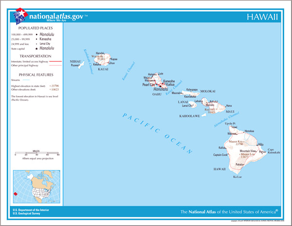 Large detailed map of Hawaii state.
