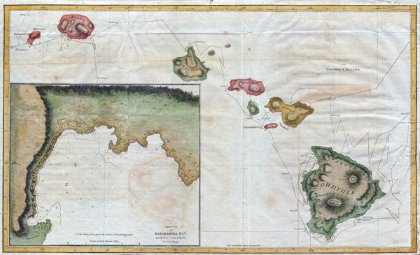 Large detailed old map of Hawaii - 1785.