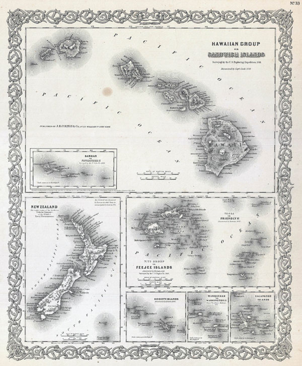 Large detailed old map of Hawaii - 1855.