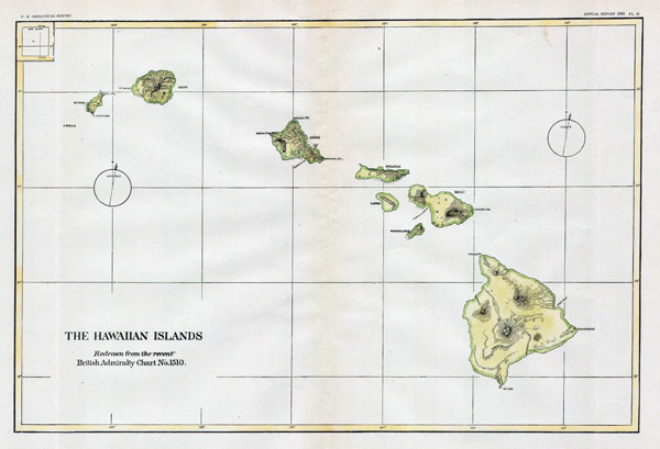 Large detailed old map of Hawaii - 1883.
