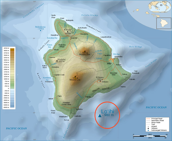 Large detailed physical map of Big Island of Hawaii with roads.