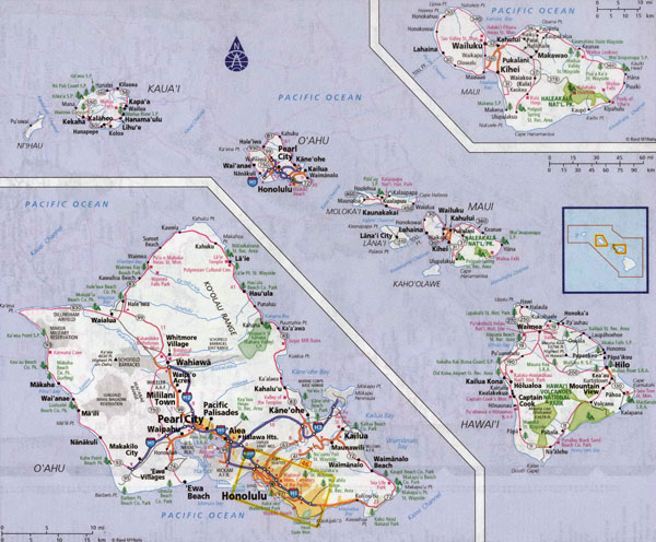Large detailed road map of Hawaii Islands with all cities and villages.