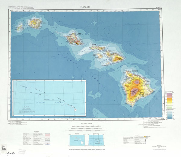 Large Detailed Topographical Map Of Hawaii USA Hawaii