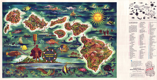 Large detailed tourist illustrated map of Hawaii by Joseph Feher Dole - 1950.