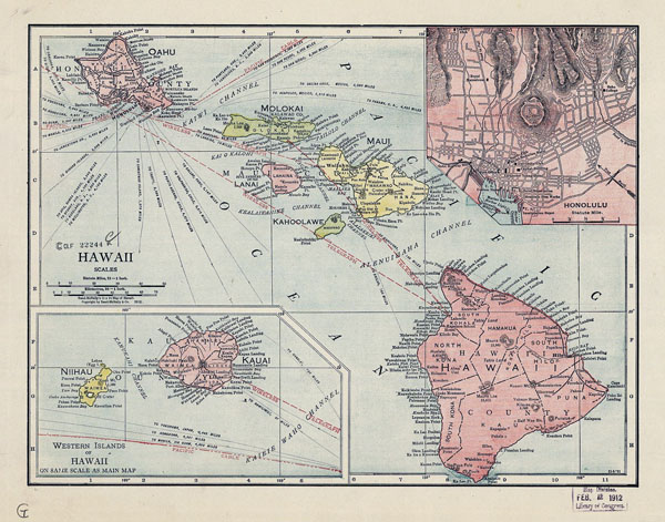 Large old administrative map of Hawaii - 1912.