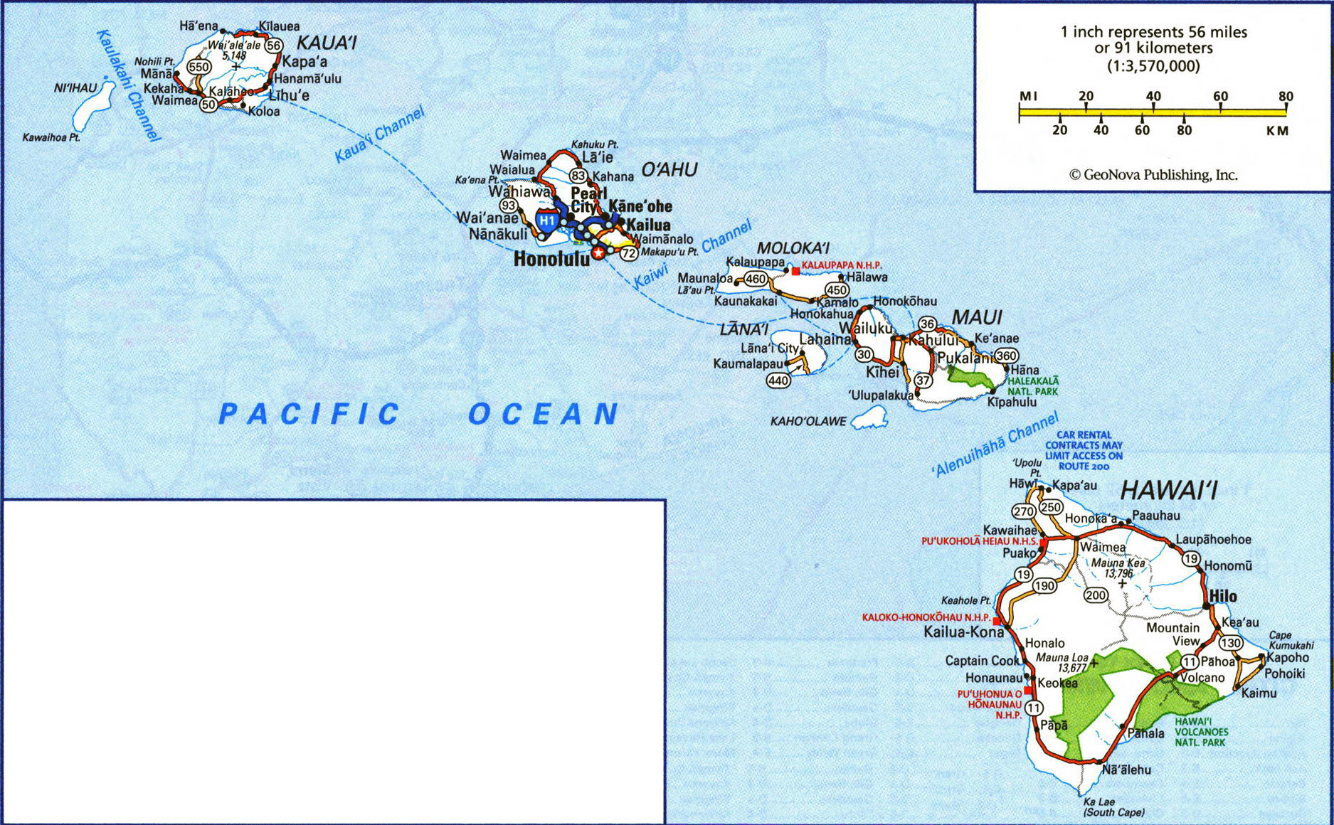 Large Road Map Of Hawaii Islands With All Cities And Villages - Hawaii cities map